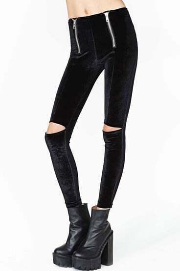 Black Elastic Skinny Hollow Leggings