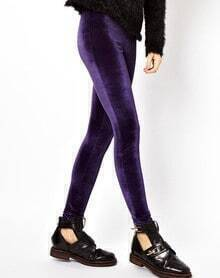 Purple Low Waist Skinny Velvet Leggings