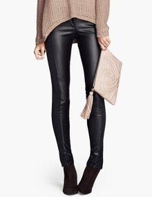 Black Slim Elastic PU Leather Leggings