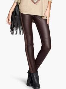 Brown Slim Elastic PU Leather Leggings
