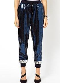 Blue Elastic Waist Sequined Loose Pant