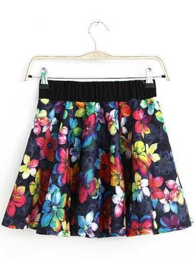 Navy Elastic Waist Floral Pleated Skirt