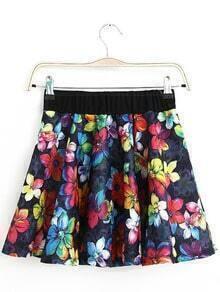 Navy Elastic Waist Floral Pleated Skirt