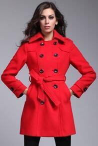 Red Long Sleeve Label Double Breasted Coat
