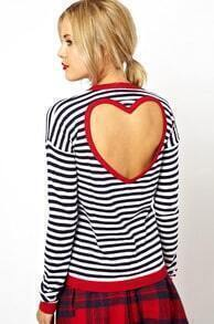 Black White Long Sleeve Striped Backless T-shirt