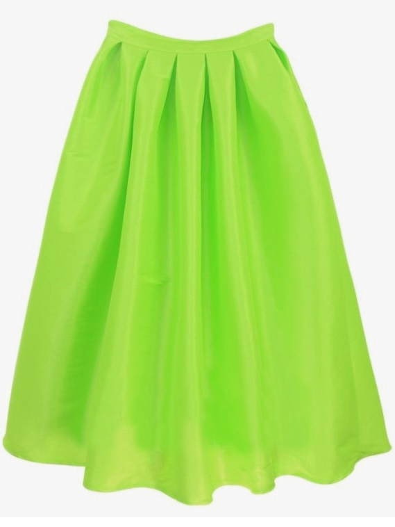 Bright Green Flare Pleated Long Skirt -SheIn(Sheinside)