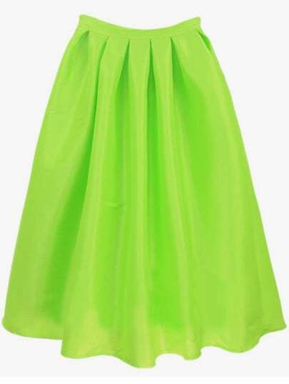 Bright Green Flare Pleated Long Skirt