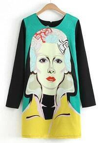 Green Contrast Long Sleeve Beauty Print Straight Dress