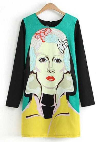 Green Contrast Long Sleeve Beauty Print Straight Dress