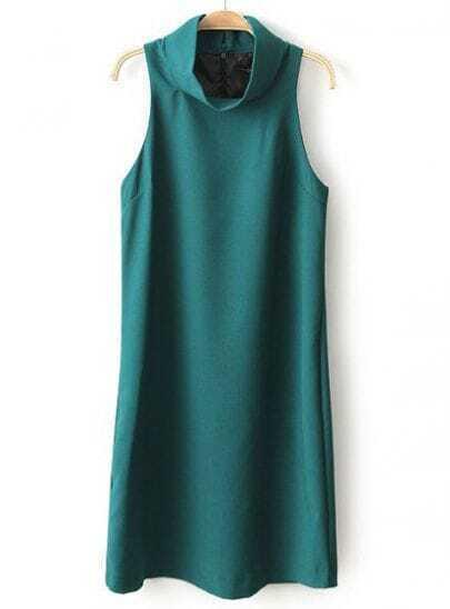 Green High Neck Sleeveless Loose Dress
