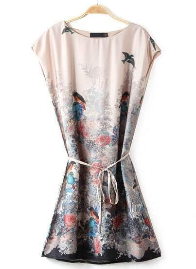 Apricot Sleeveless Birds Floral Print Dress