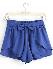 Royal Blue Bow Cascading Ruffle Chiffon Skirt Shorts