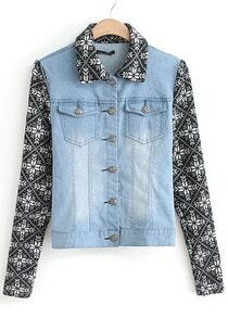 Blue Contrast Knit Long Sleeve Bleached Denim Jacket