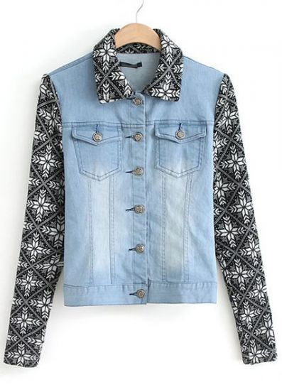 Blue Contrast Knit Long Sleeve Bleached Denim Jacket