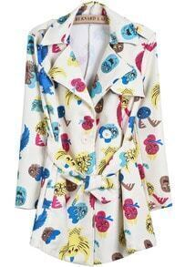 Beige Long Sleeve Cartoon Print Belt Coat
