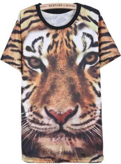 Yellow Short Sleeve Tiger Tigrina Print T-Shirt