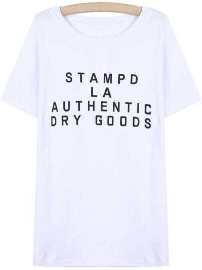 White Round Neck Short Sleeve Letters Print T-Shirt