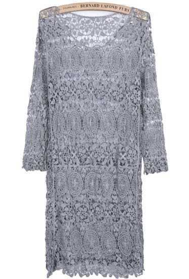 Grey Round Neck Long Sleeve Hollow Lace Dress