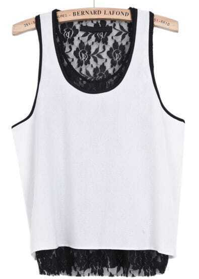 White Contrast Lace Sleeveless Chiffon Vest