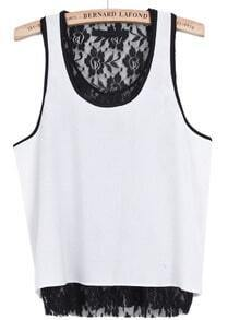 White Contrast Lace Sleeveless Chiffon Vest