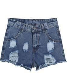 Blue Fringe Ripped Pockets Denim Shorts