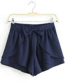 Navy Bow Cascading Ruffle Chiffon Skirt Shorts