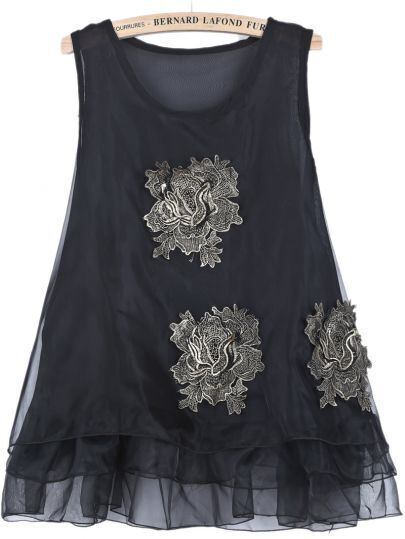 Black Sleeveless Scarf Embroidered Organza Dress