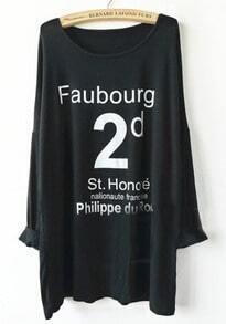 Black Long Sleeve Letter Print T-Shirt