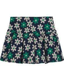 Blue Vintage Floral Pleated Skirt