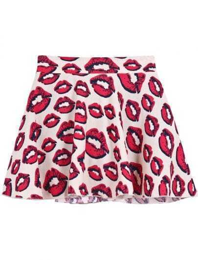 Apricot Elastic Waist Lips Print Ruffle Skirt