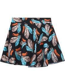 Black Feather Print Ruffle Skirt