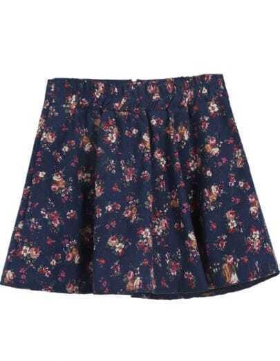 Navy Elastic Waist Floral Zipper Skirt