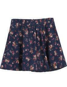 Navy Elastic Waist Floral Zipper Skirt