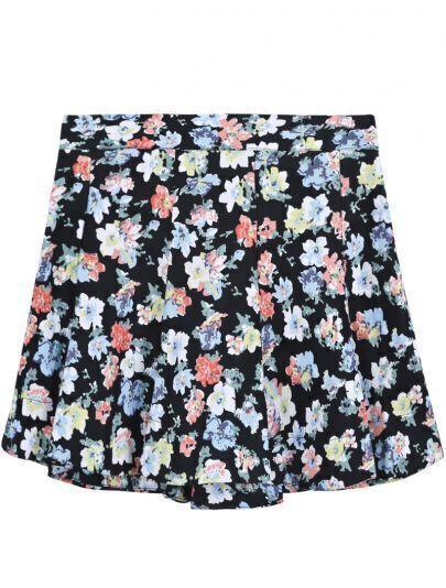 Black Ruffle Vintage Floral Skirt