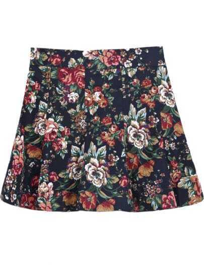 Blue Ruffle Vintage Floral Skirt