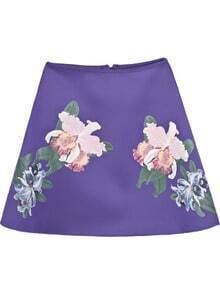 Purple High Waist Floral A Line Skirt