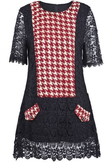 Black Half Sleeve Contrast Red Houndstooth Lace Dress