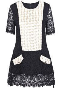 Black Half Sleeve Contrast White Houndstooth Lace Dress