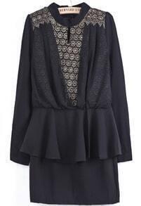 Black Long Sleeve Metallic Yoke Embroidered Dress