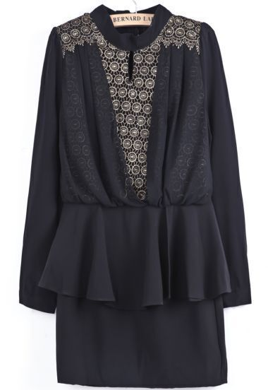 Black Long Sleeve Metallic Yoke Embroidered Dress