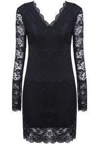 Black V Neck Long Sleeve Bodycon Lace Dress