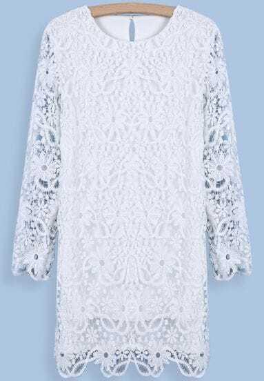 Vestido suelto bordado manga larga-blanco