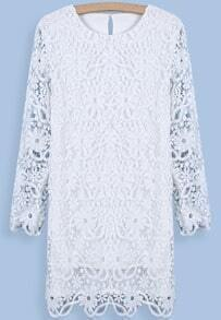 White Long Sleeve Embroidered Lace Loose Dress