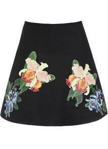 Black High Waist Floral A Line Skirt
