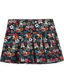 Black Vintage Floral Pleated Skirt