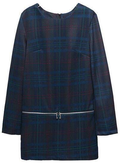 Blue Black Plaid Long Sleeve Zipper Loose Dress