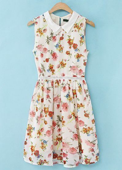 White Lapel Sleeveless Floral Pleated Dress