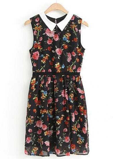 Black Lapel Sleeveless Floral Pleated Dress