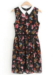 Black Lapel Sleeveless Floral Pleated Dress