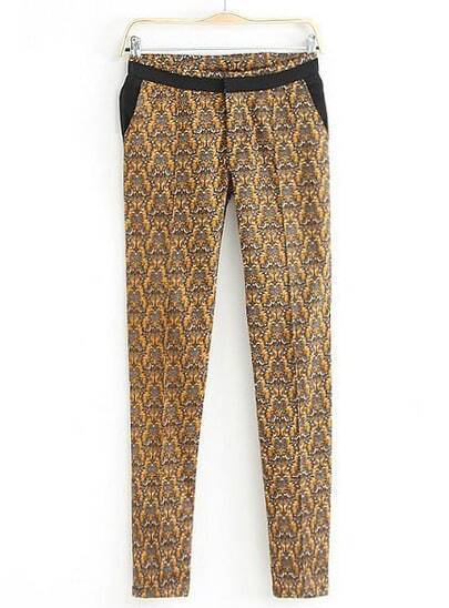 Yellow Vintage Floral Pockets Pant